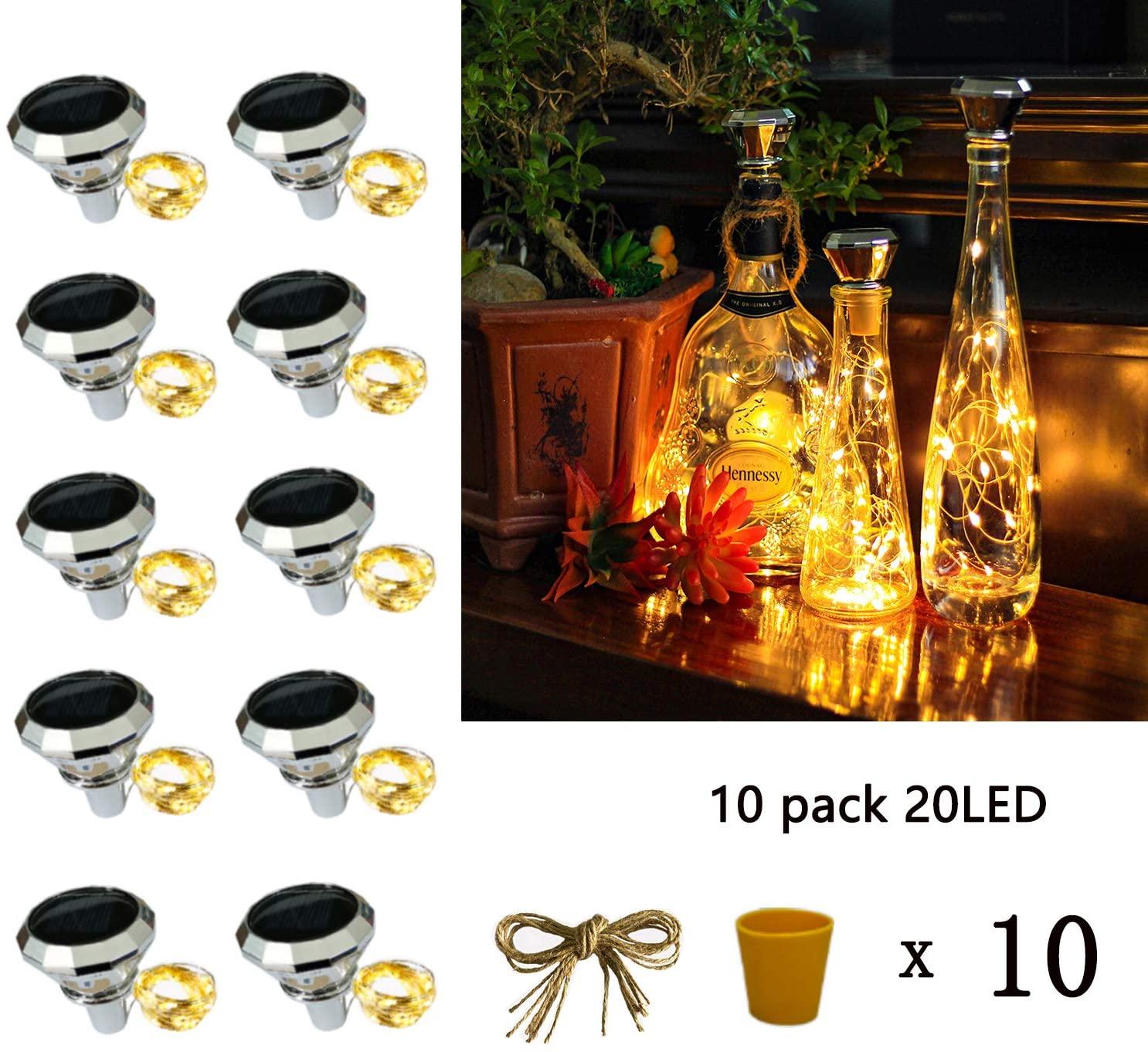 Starry Love bottle lights Solar Wine Bottle Lights 10 Packs 20LED Outdoor Waterproof Fairy Light Strings for Recycling Wine Bottle Decoration