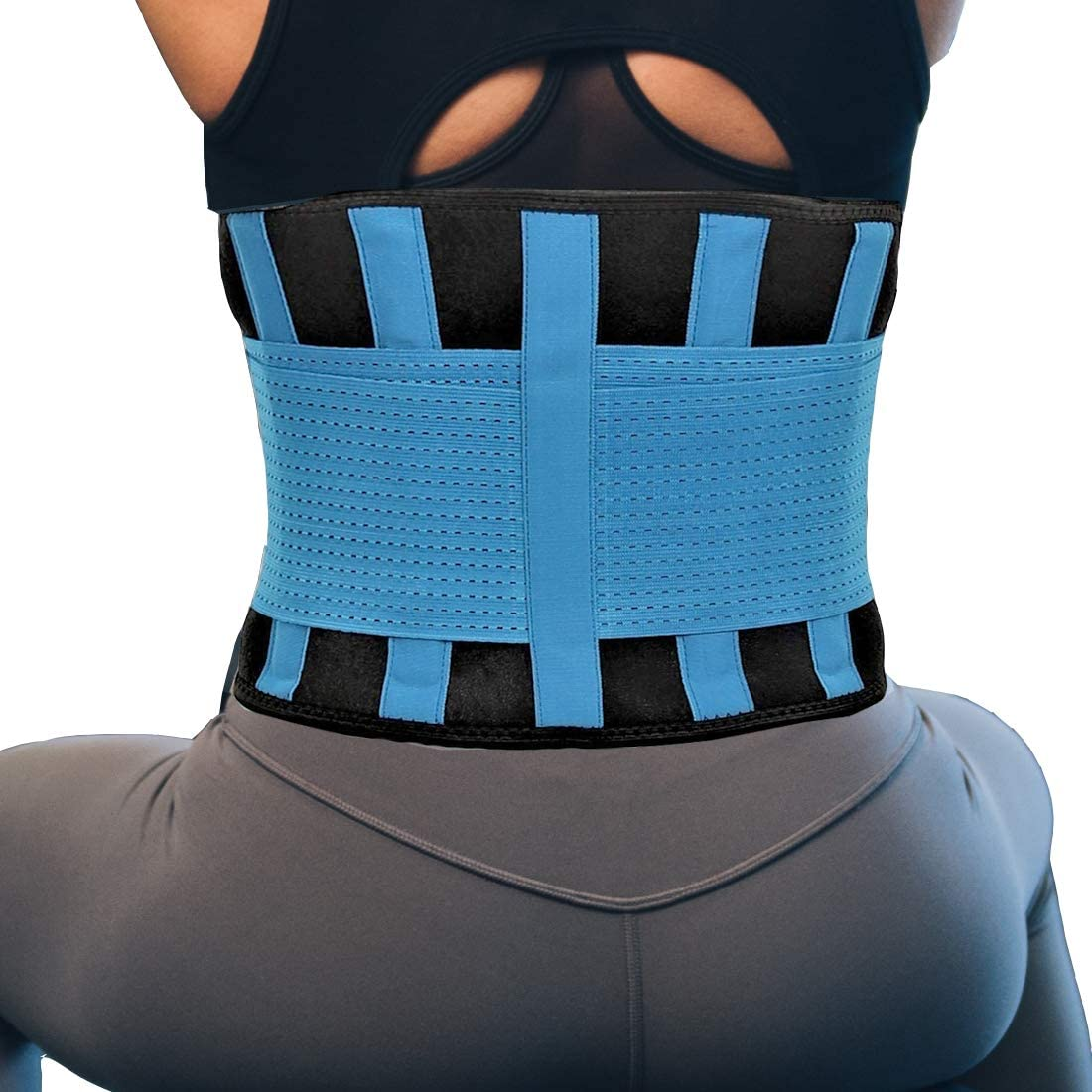 RiptGear Back Brace for Men and Women - Back Pain Relief Support for Lower Back Pain and Hip Pain - Lumbar Severe Back Pain Relief for Herniated Disc and Sciatica (Blue, Large)