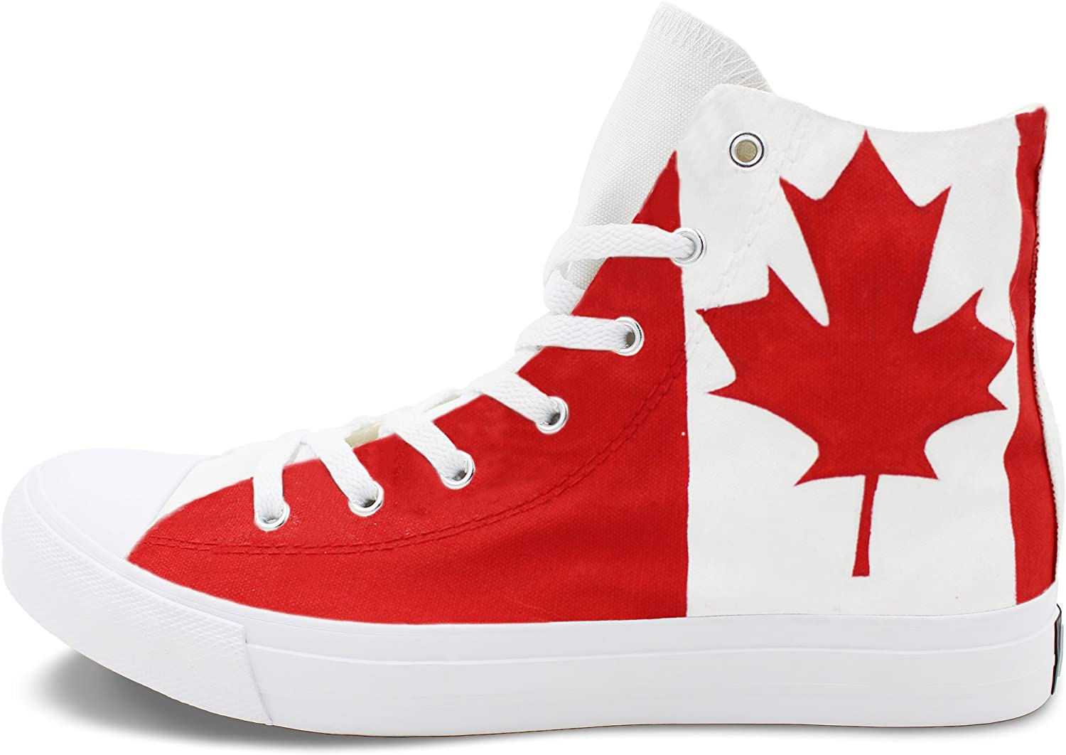Wen Fire Hand Painted Flag Shoes Canada Maple Leaf Woman Man Canvas Sneakers