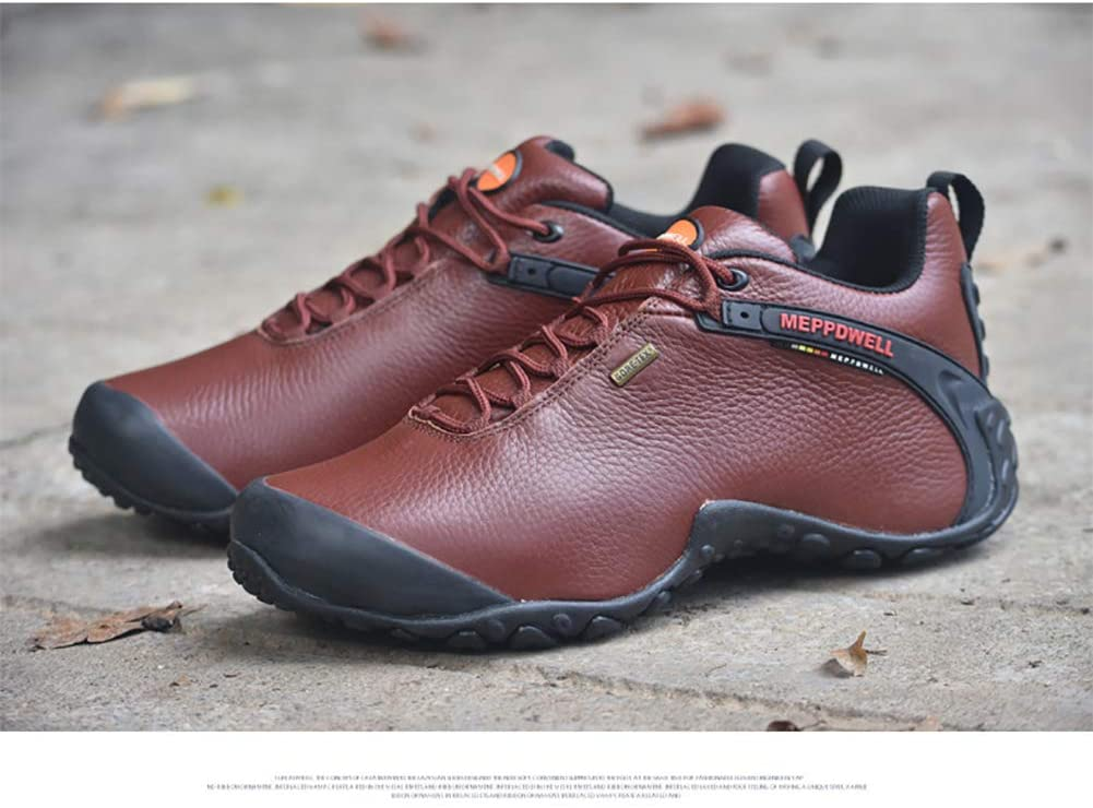 WAWB Hiking Shoes Men Waterproof Hiking Shoes Breathable Light from Trekking Leather for Trekking Camping Sport Outdoor,Reddish Brown,43