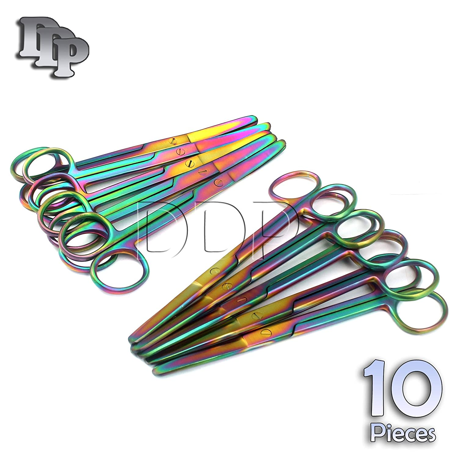 DDP SET OF 10 MULTI TITANIUM COLOR RAINBOW OPERATING SCISSOR BLUNT/BLUNT 5.5