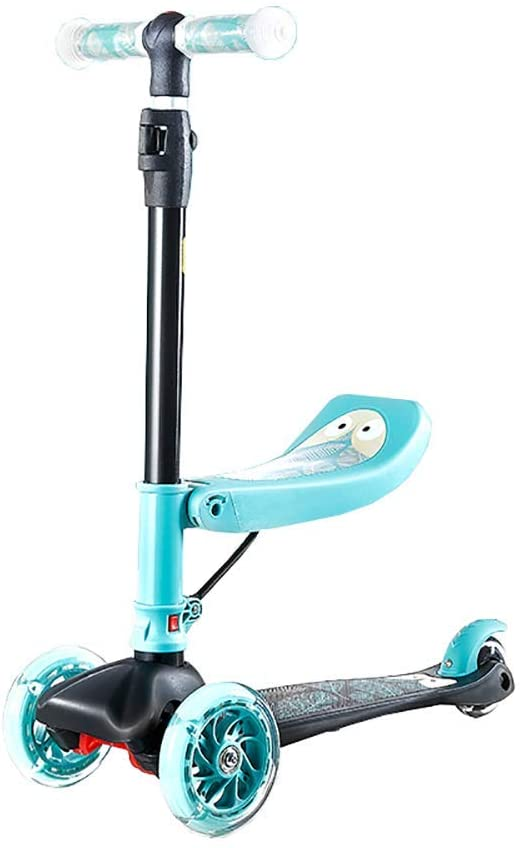 PLLP Outdoor Sports Scooter Kick,Kids Kick with Detachable Seat Adjustable Handle, Wide Pedal Pu Flash Wheel for Toddler Aged 2+, 50Kg Capacity Adult Child Toy Balance Car Mini,Green