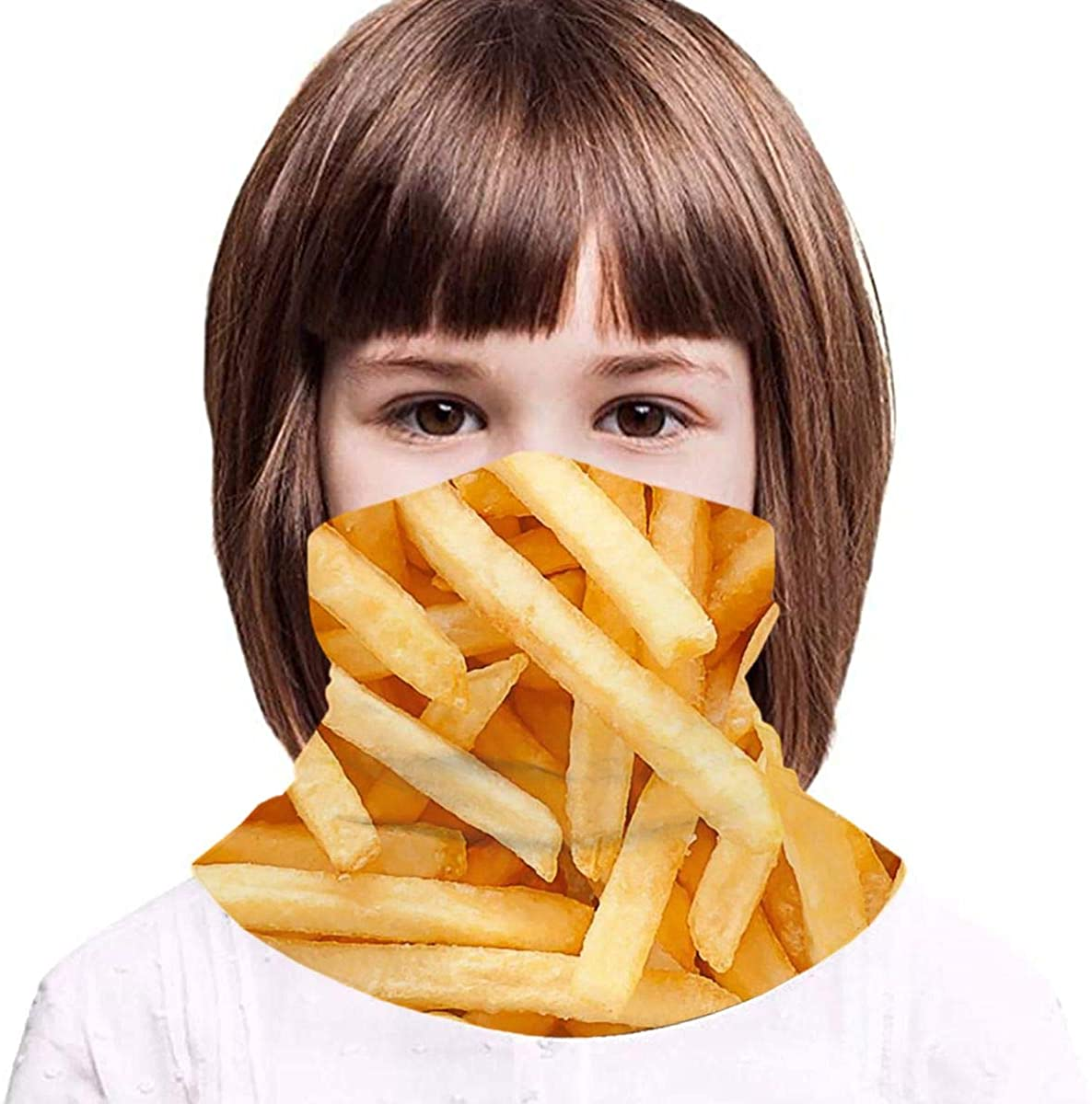 French Fries Boy Girl Seamless Face Cover Neck Gaiter Headband Teenagers Scarf Outdoors Fishing Sports Running - Gifts for Kids Black