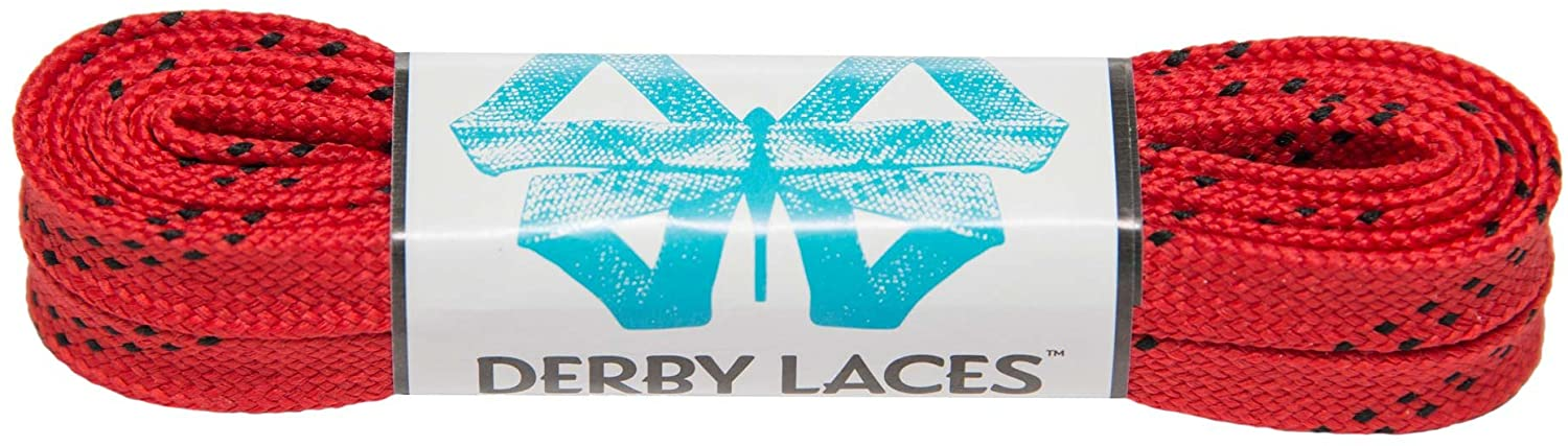 Derby Laces Red 60 Inch Waxed Skate Lace for Roller Derby, Hockey and Ice Skates, and Boots