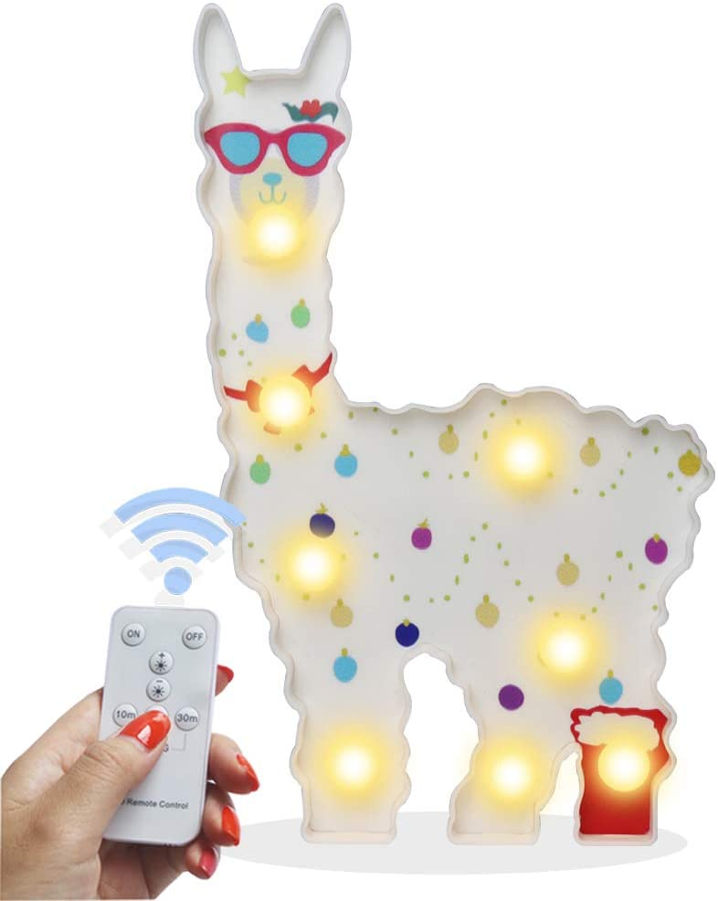 Pooqla Remote Control Llama Night Light, 3D Light Up Llama Decor Signs Kids Gifts Home Table Wall Decoration for Girls Room, Bedside(White with Glasses)