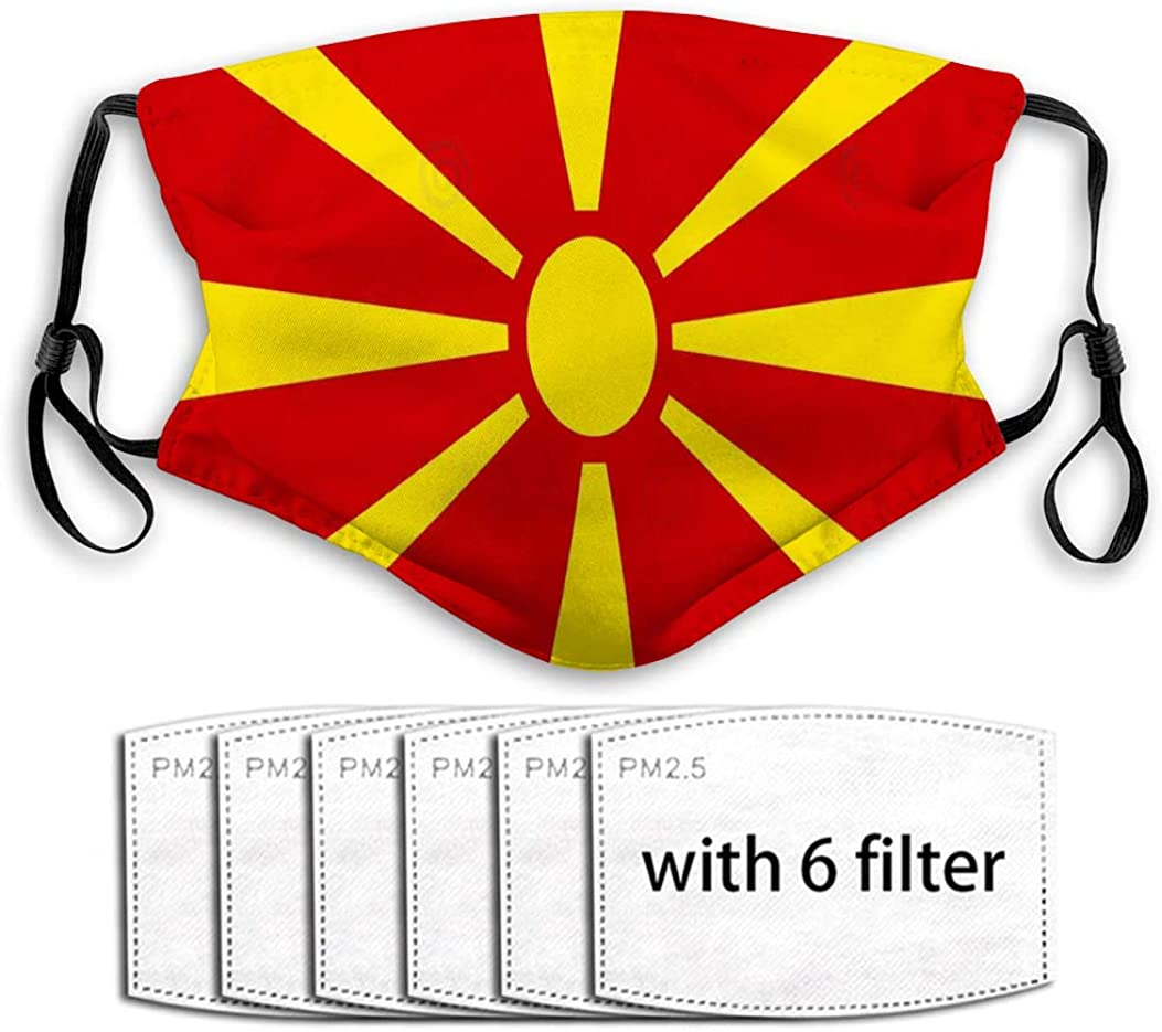 Xunulyn Mouth Shield Washable Reusable Mouth Shield Colored Flag Macedonia Detailed Accurate Mouth Covers