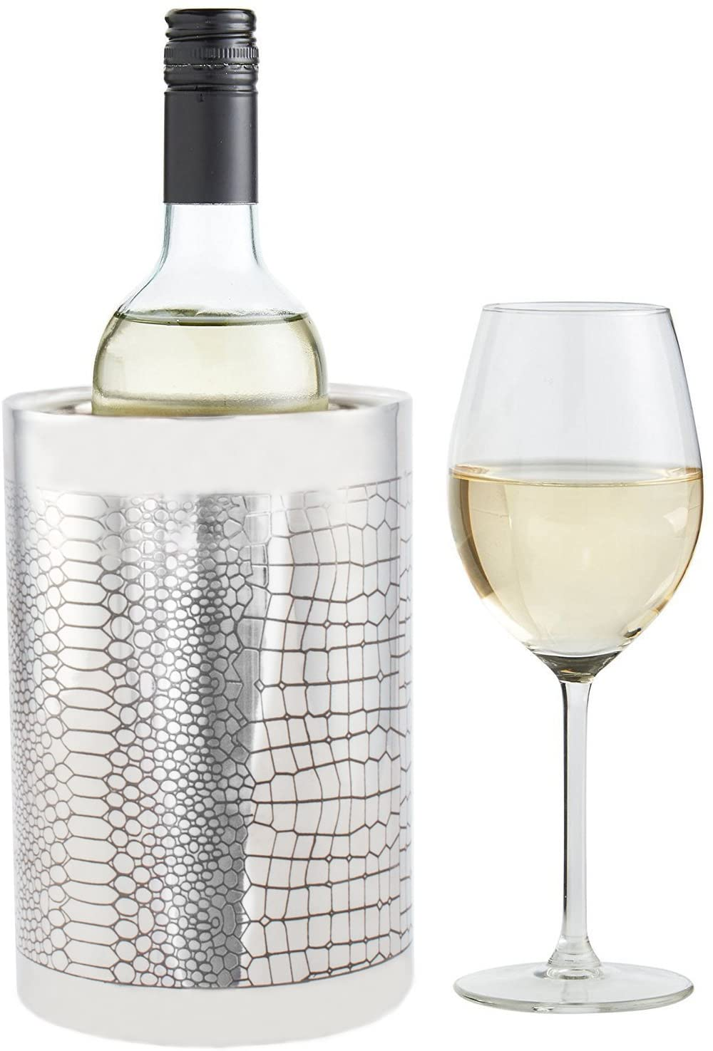 Imperial Home Stainless Steel Wine Chiller Bucket, Double Wall Tabletop Wine Cooler With Snakeskin Design - Chic Double Wall Wine Cooler with Snakeskin Design