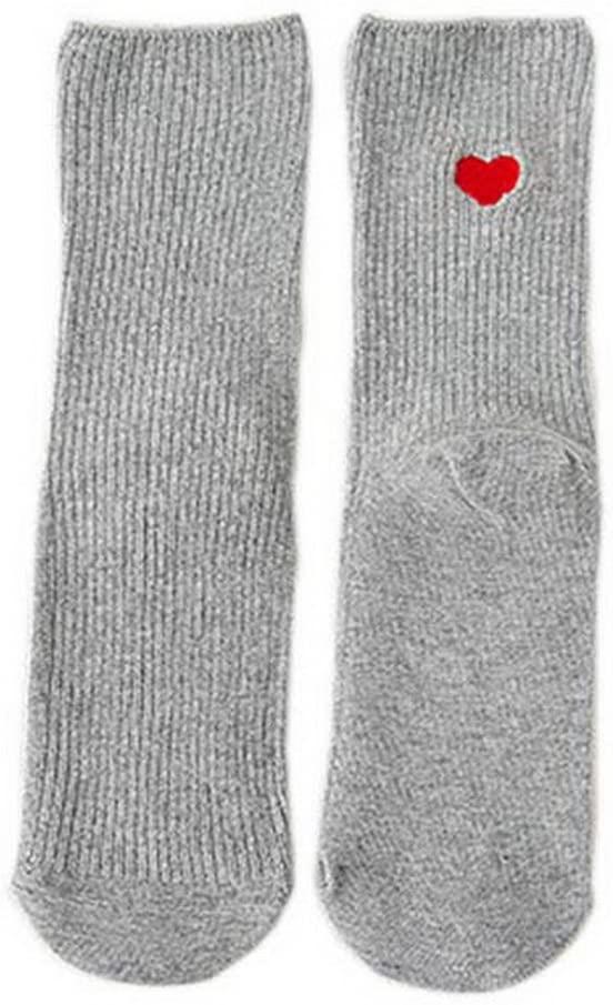 Gentle Meow Set of 5 Womens Soft Warm Socks Cotton Spring Socks Girls Outdoor Gray