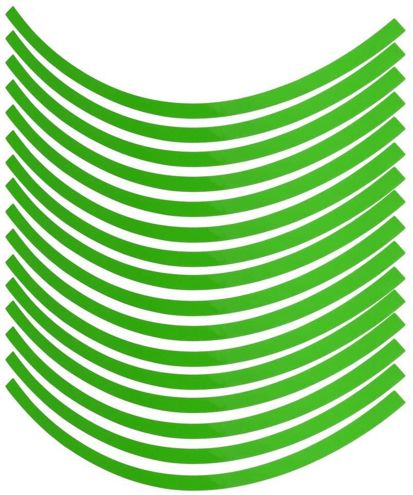 Cuque Universal Car Motorcycel Wheel Reflective Pinstripe Decal Tape Sticker Decoration Film Sticker Fluorescent Reflective Car Decals 6 Colors(Fluorescent green)