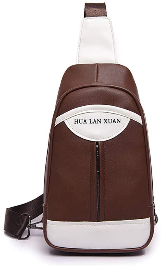 AMHDV PU Leather Sling Bag, Fashion Men's Crossbody Sling Pack (S1-Brown)