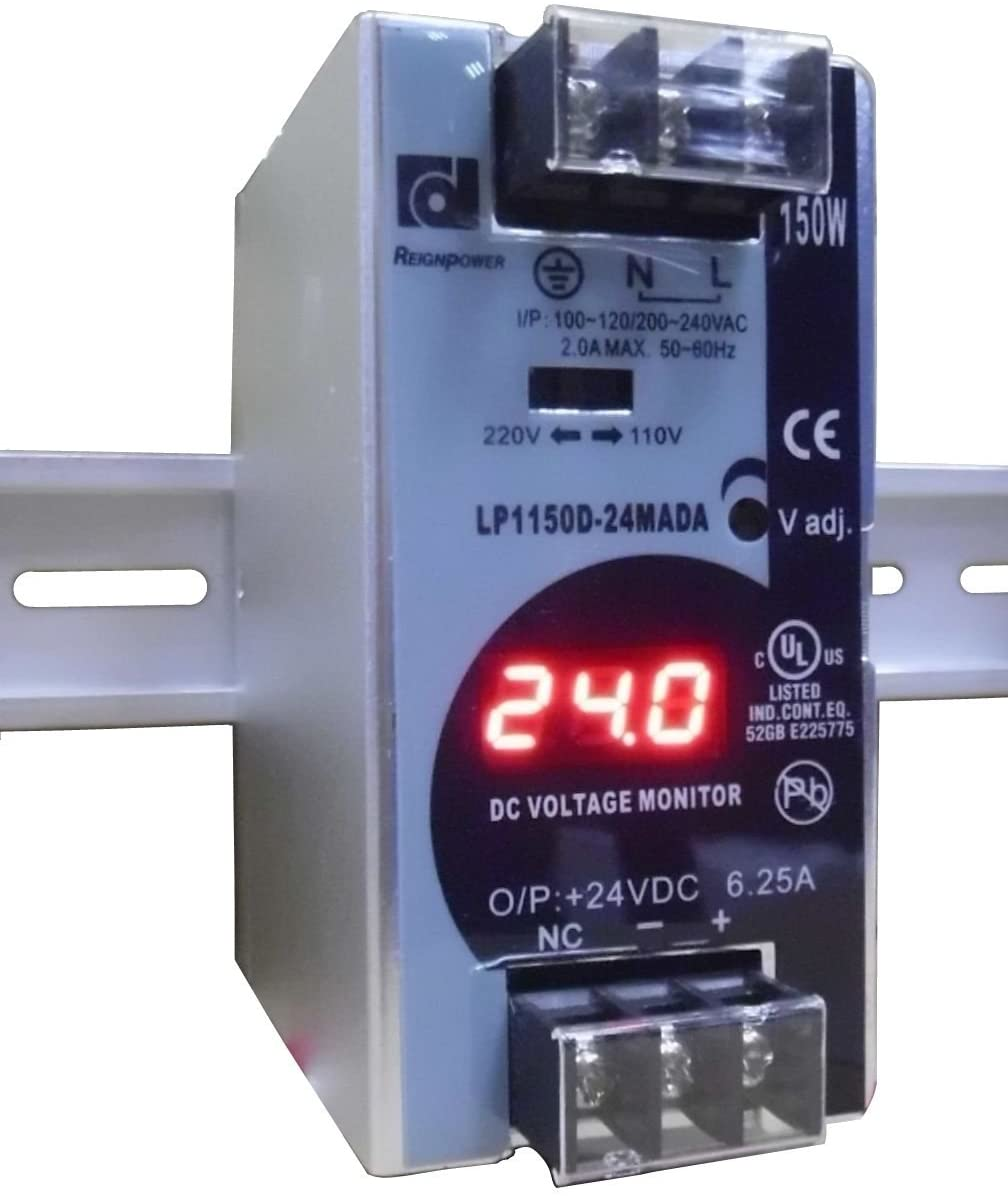 REIGNPOWER LP1150D-24MADA 150W 24VDC 6A Din Rail Power Supply Voltage Monitor Display