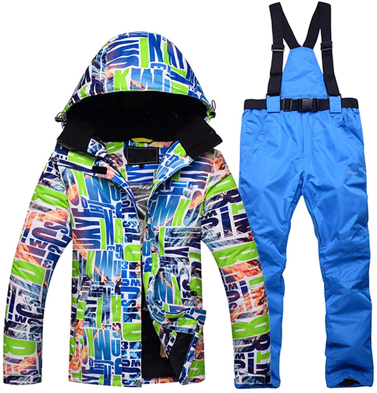 PENER Womens Thick Ski Jackets Waterproof Colorful Printed Snowboard Jacket and Pants Set
