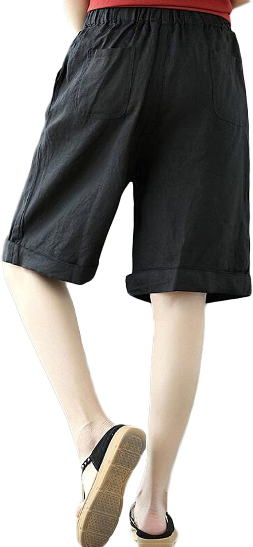 Women's Casual Linen Comfy Bermuda Walking Shorts with Pockets
