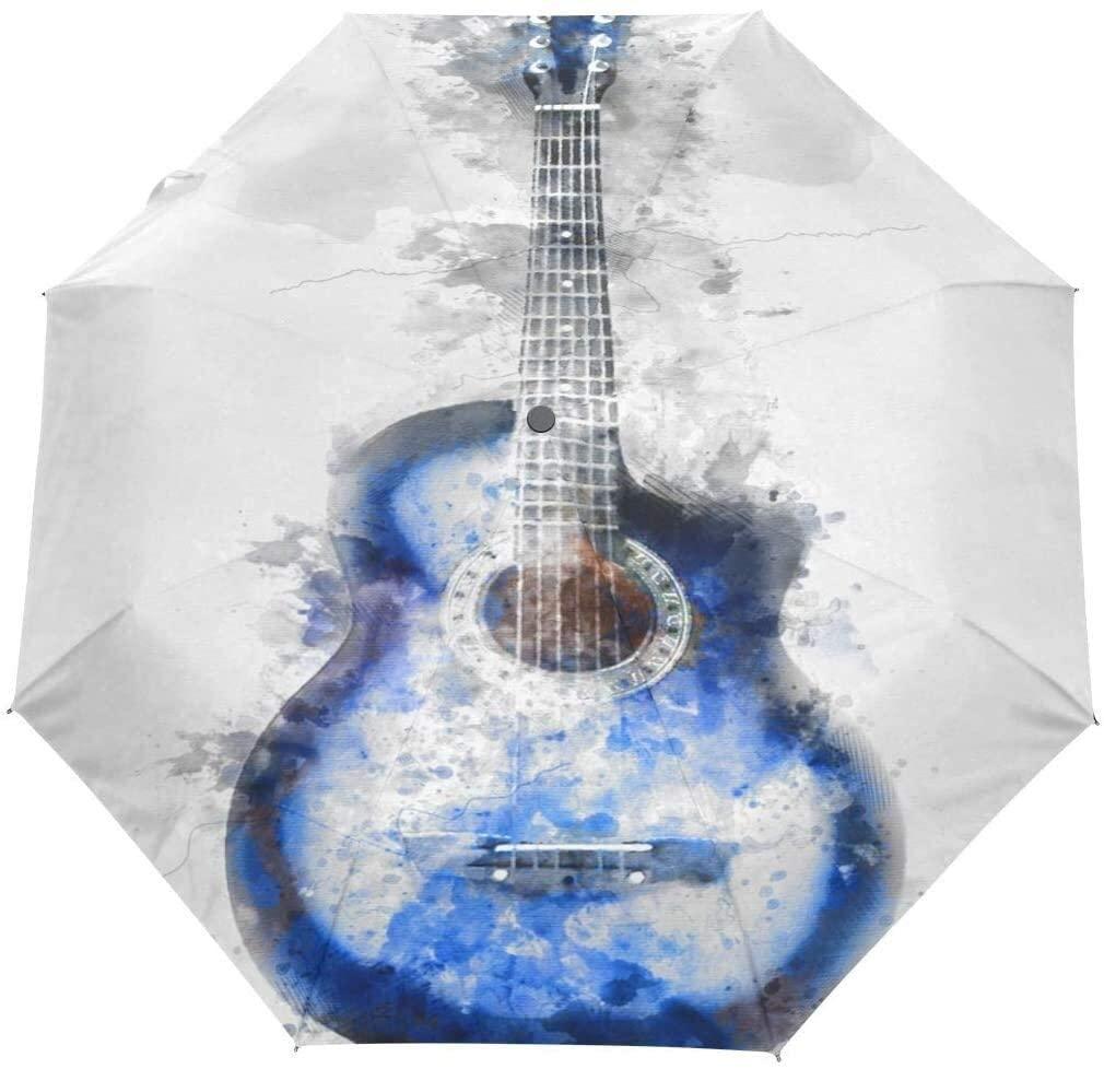 ASDF Automatic Umbrellas Abstract Music Guitar Anti-Slip Windproof Compact Rain Umbrella for Women Men