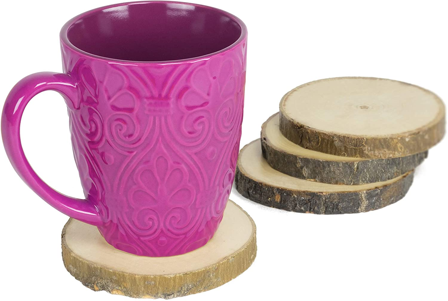 Natural Wood Coaster Set 4 pcs with Tree Bark Wooden Coasters Each Measures About 3.5 inches in Diameter
