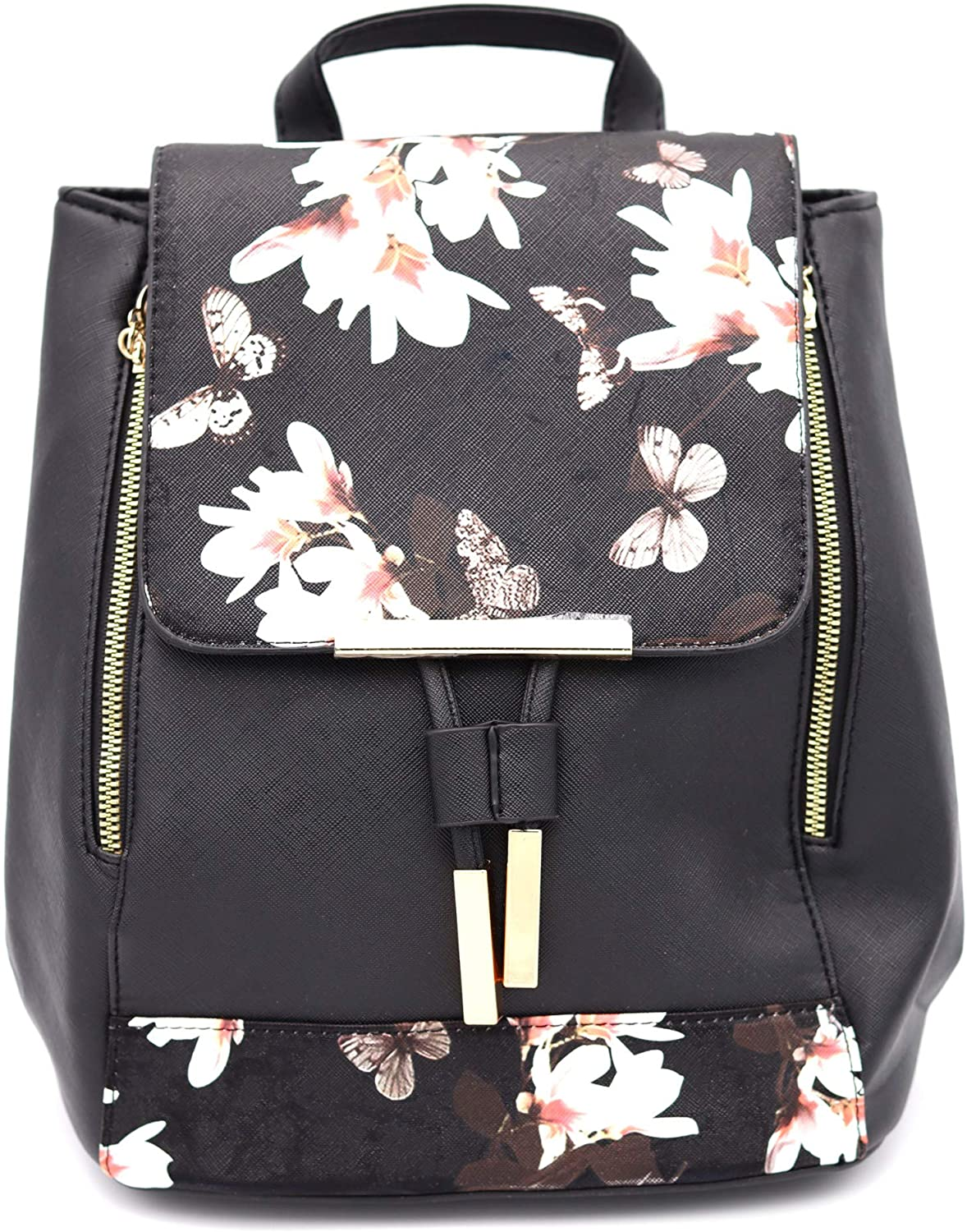 Black And Pink Floral Fashion Backpack For Woman