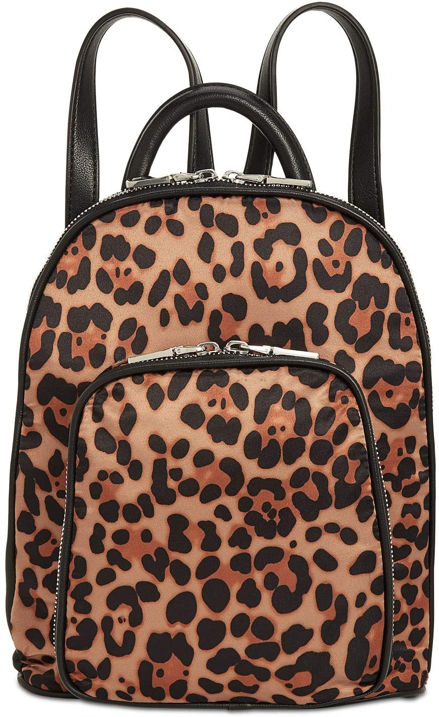 INC Womens Farahh Leopard Print Faux Leather Trim Backpack Tan O/S