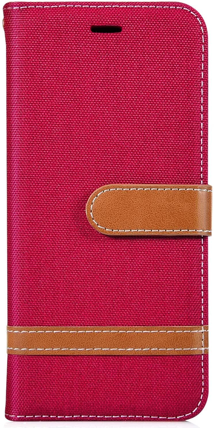 IKASEFU Compatible with iPhone 11 Pro Max Case Slim Wallet Strap Credit Card Holder Slots Card Holder Shockproof Kickstand Magnetic Purse Folio Flip Book Cover Protective Bumper Case,red