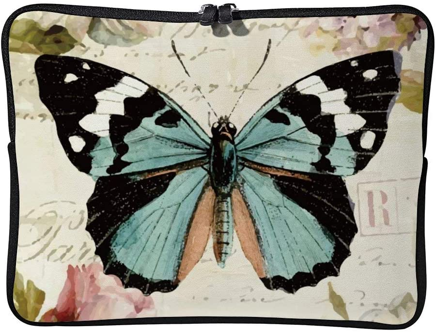 Laptop Sleeve Bag Notebook Computer PC Neoprene Protection Zipper Case Cover Pouch Carrier Holder Vintage Butterfly color7 15inch