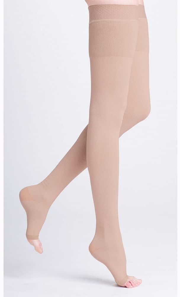 500 Natural Rubber 40-50 mmHg Open Toe Unisex Thigh High Sock with Waist Attachment Size: M4, Leg: Left