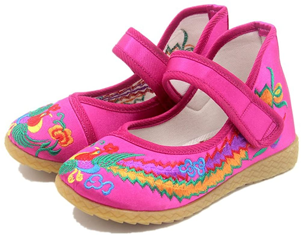 Tianrui Crown Children Girl's Phoenix Embroidery Mary-Jane Shoes Kid's Cute Flat Cheongsam Shoe
