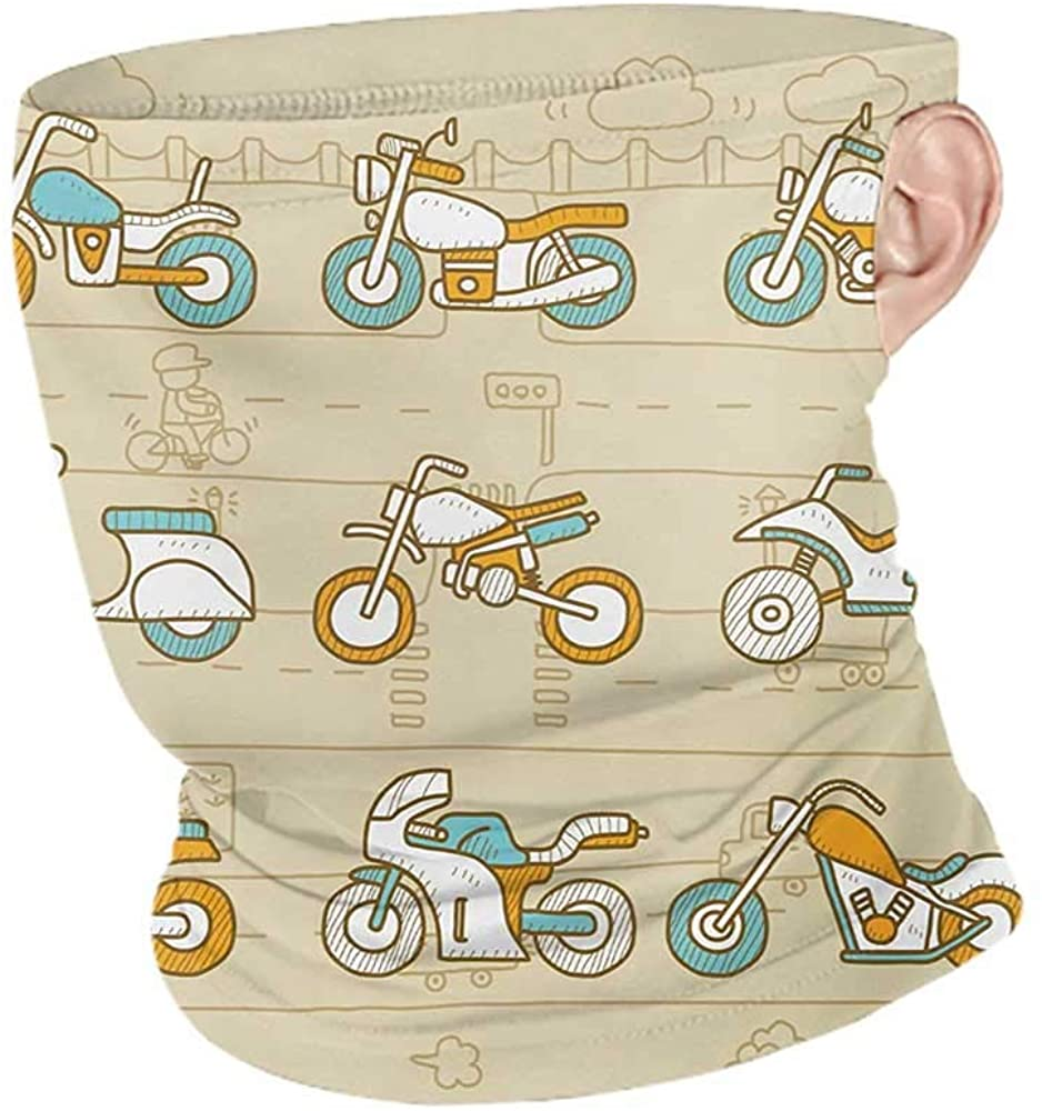 Face Cover Summer Urban Hand Drawn Motorcycles on City Traffic Background Transportation,Unisex Anti-Dust Washable Sand Brown Marigold Pale Blue 10 x 12 Inch