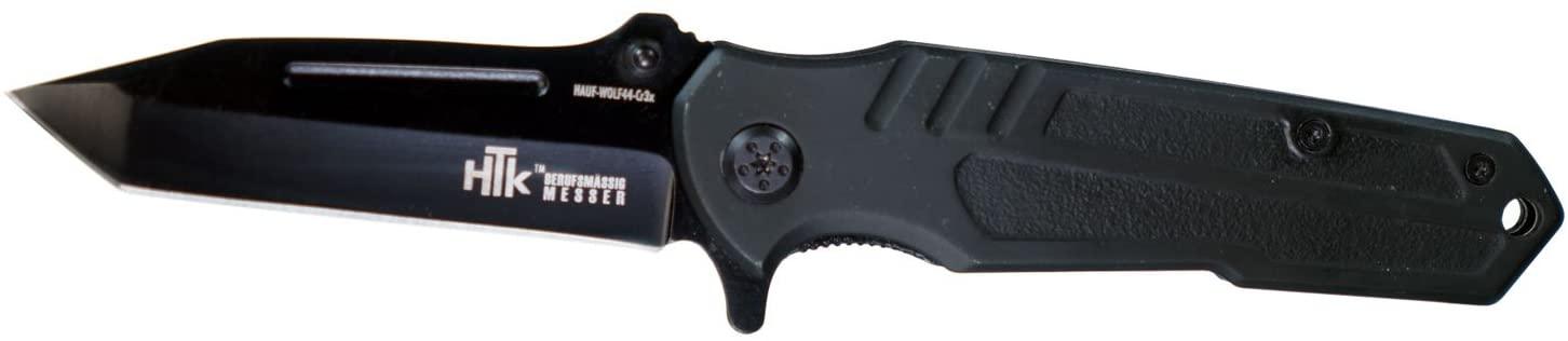 HTK Black Wolf CR3X Spring Assist Rubberized Handle Belt Clip Straight Blade, 3.2