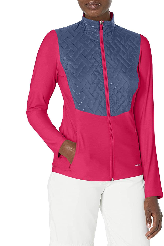 Annika by Cutter & Buck Women's Lightweight Full Zip Propel Hybrid Quilded Color Block Jacket