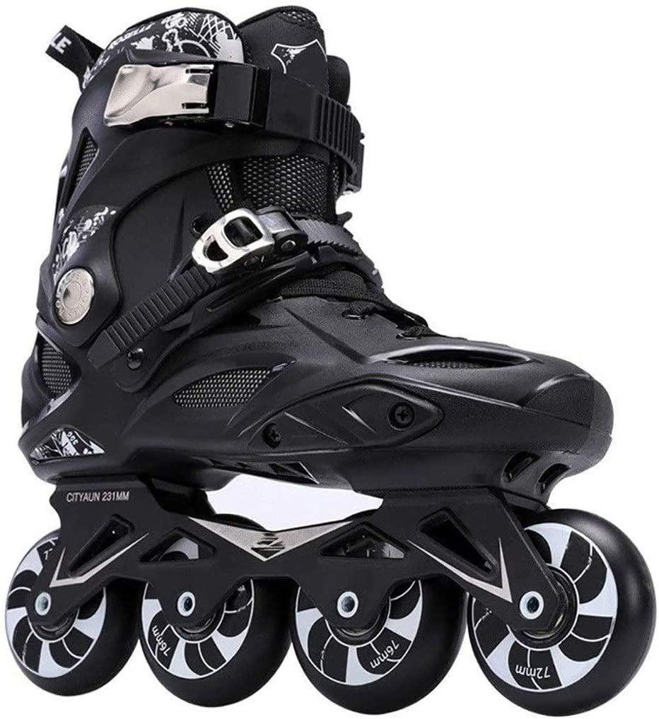 QL Professional Outdoor Sports Skates Roller Inline Adjustable Children Tracer for Kids Boys Girls Blade Illuminating Wheels Roller Skates Shoes (Color : Black, Size : 43 EU/10 US/9 UK/26.5cm JP)