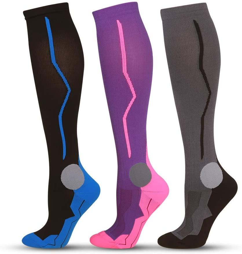 salamra 3 Pairs Compression Socks for Men Women Unisex, 20-30 mmHg, Medical Grade, Sporting, Running, Pregnancy, Travel, Flight, Size S/M, Multiple Stylish Color-Sapphire/Purple/Gray