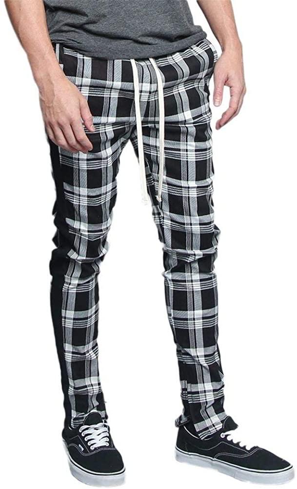 Men's Pattern Plaid Camo Luxury Stripe Ankle Zip Premium Track Pants