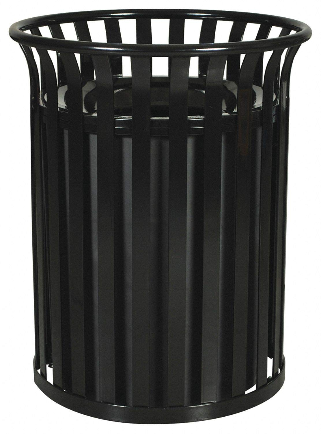Trash Can, 35 gal., Black, Steel