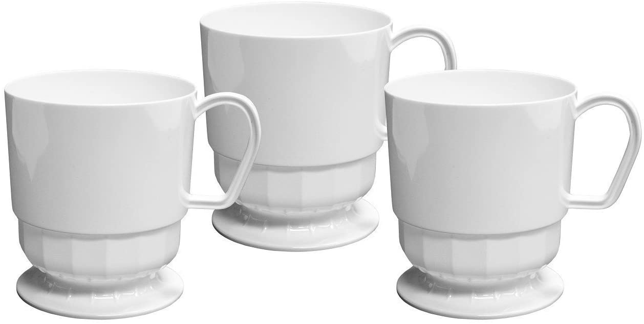 Party Essentials Deluxe/Elegance Hard Plastic 8-Ounce Coffee Cups (50-Count, White)
