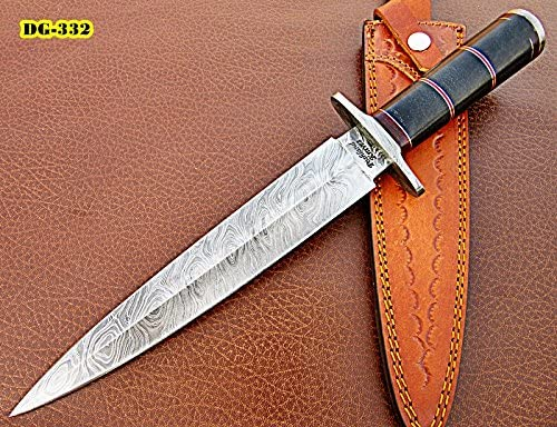 Poshland RAM-DG-332, Handmade Damascus Steel 15 Inches Dagger Knife – Beautifully Designed Black G-10 Micarta Handle with Damascus Steel Guard