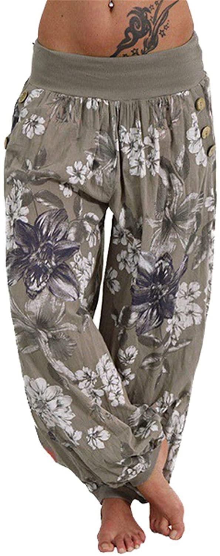 Andongnywell Women Print Wide Harem Pants Hippie Boho Loose Pocket Button Harem Pants High Waist Baggy Beach Pants