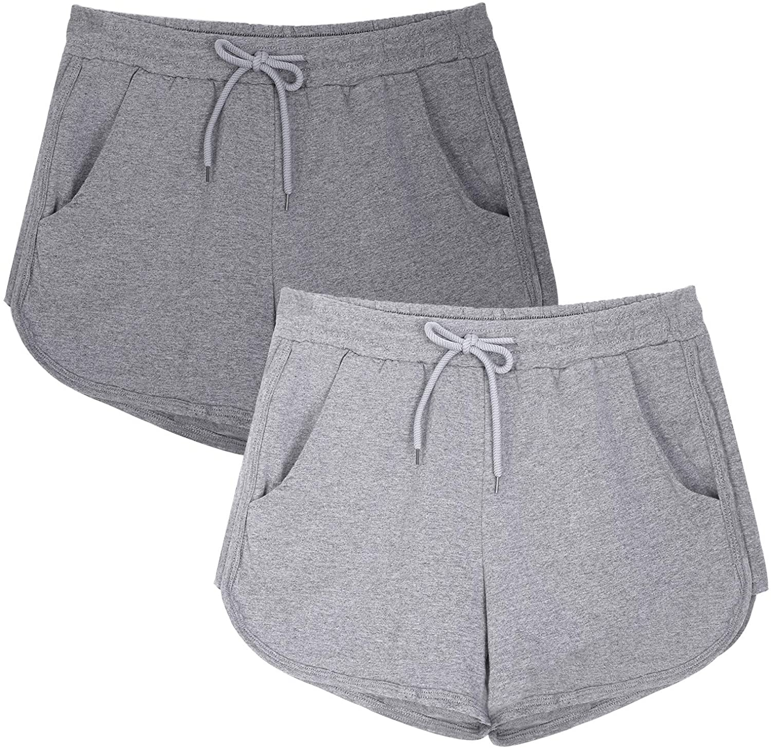 URATOT 2 Pack Casual Short Pants Athletic Shorts Elastic Waist Workout Shorts with Pockets