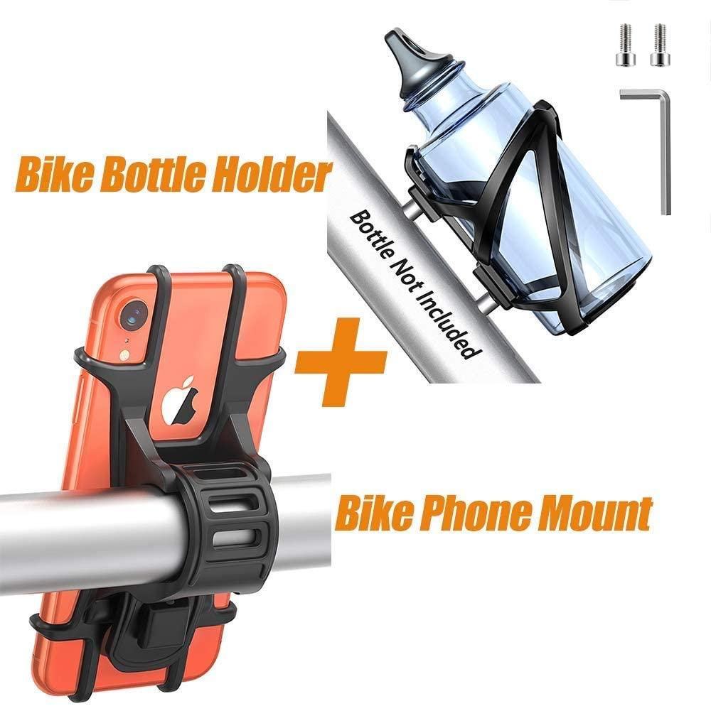 Bovon Premium PC MTB Bike Water Bottler Holder Cage & Universal Bike Phone Mount Holder