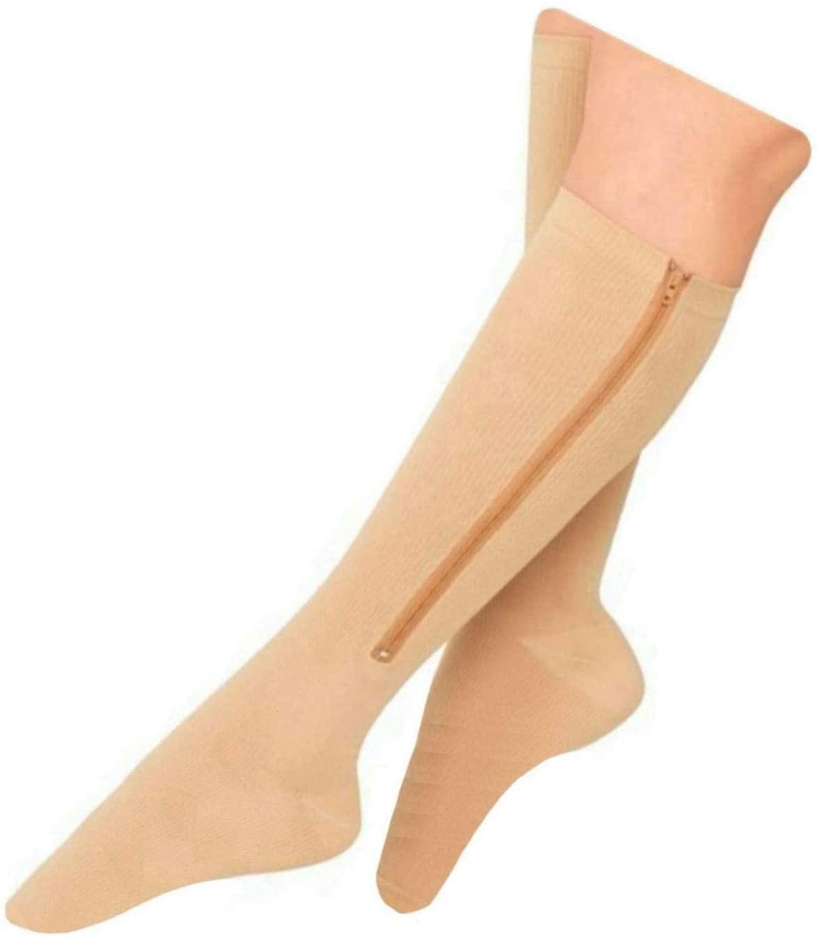 Presadee Kid's Edition Easy Zipper Compression Socks Knee Length Energize Leg Circulation Performance Fatigue Support (Closed Toe Beige, S/M)