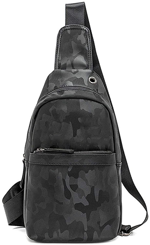 Mens Sling Bag Leather Chest Bag Shoulder Backpack Cross Body Travel,Rswsp (Oxford-Without Eyes)