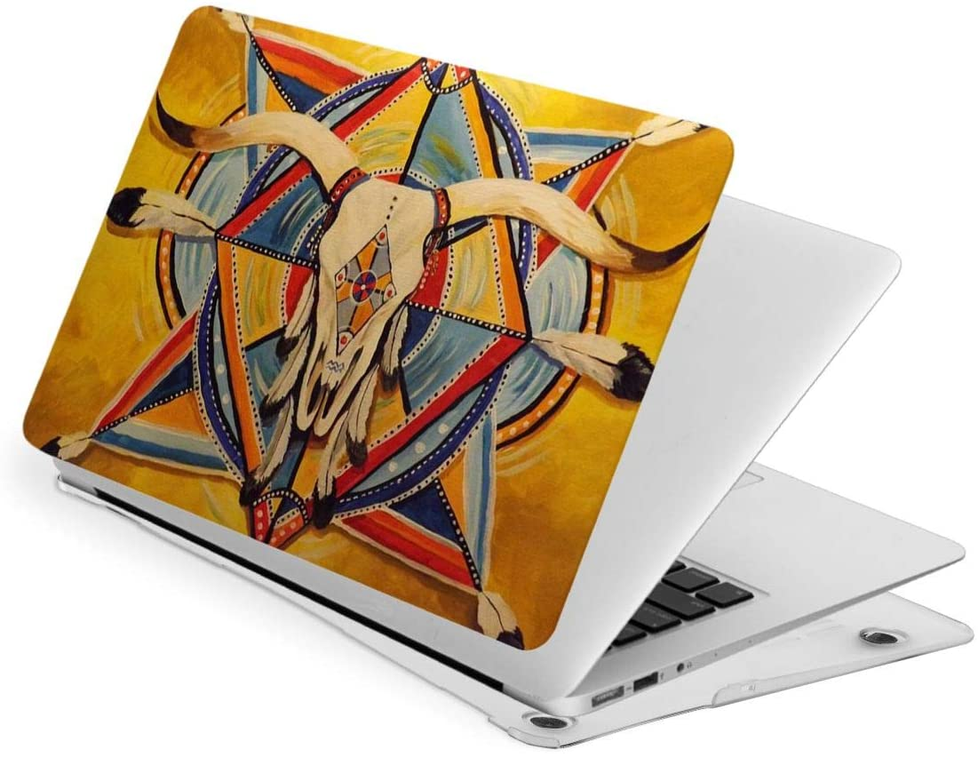 Laptop Case for MacBook, Native American Art Longhorn Laptop Computer Hard Shell Cases Cover (New Air13 / Air13 / Pro13 / Pro15)