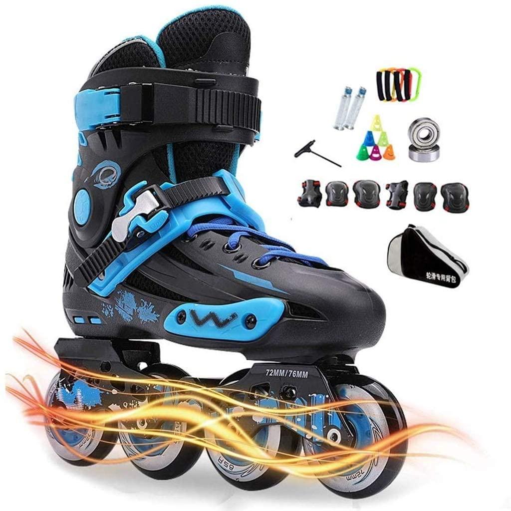 QL Skates Adult Inline Men and Women Roller Shoes Fancy Roller Skates Luminous Beginners Adult Flat Flower Skates (Color : Black, Size : EU 42/US 9/UK8/JP 26cm)