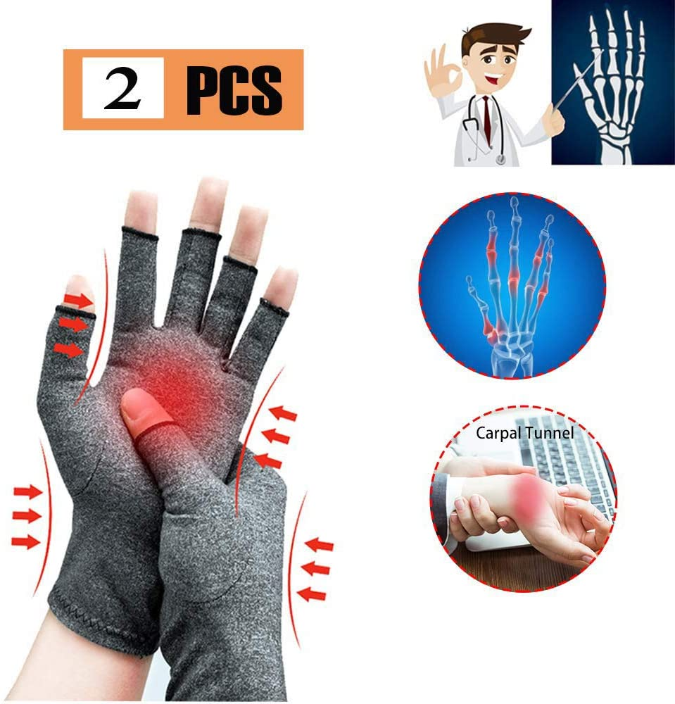 Arthritis Gloves - Compression Gloves for Women and Men, Fingerless Design to Relieve Pain from Rheumatoid Arthritis and Osteoarthritis - 2 Pairs,L