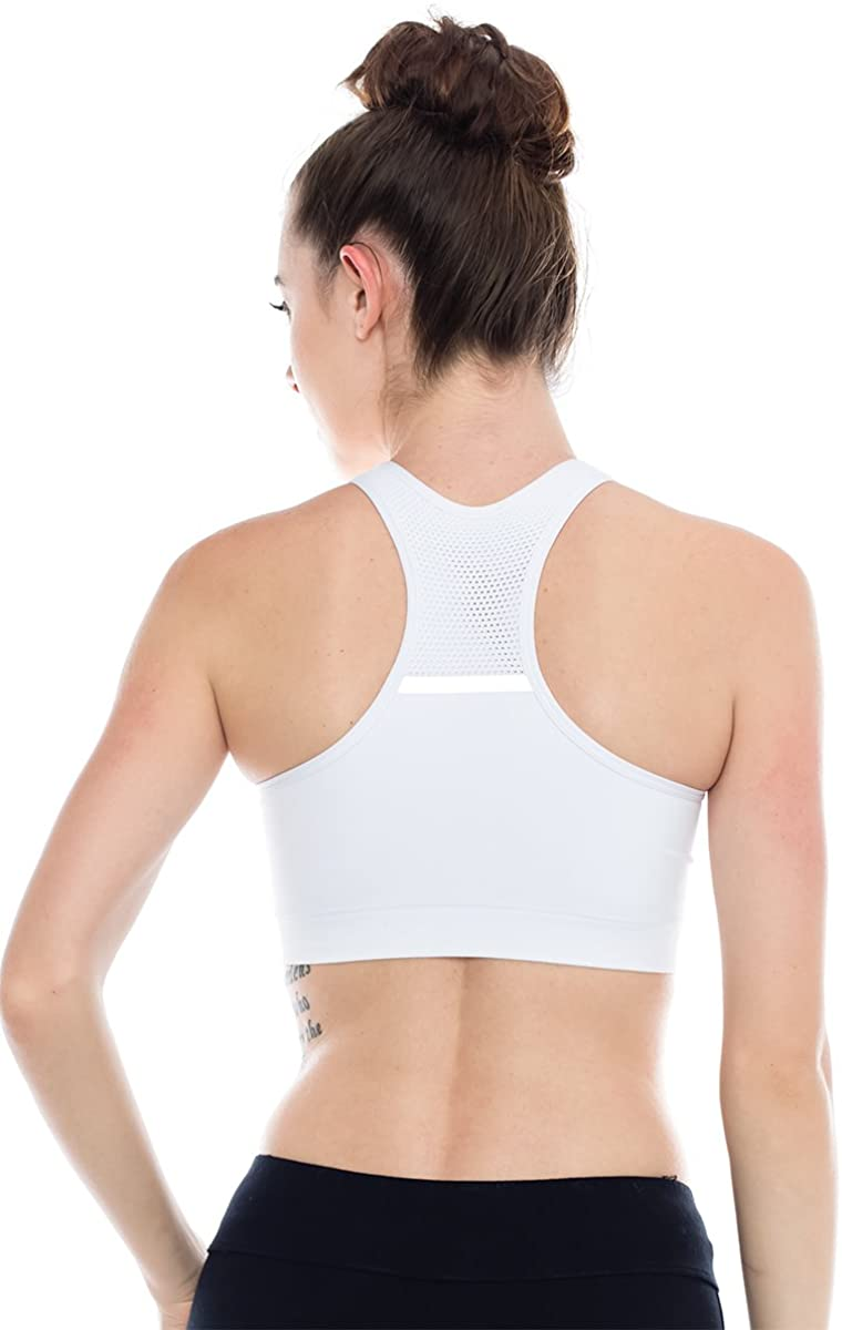 Kurve Double Layered Mesh Top Racerback Sports Bra -Made in USA-