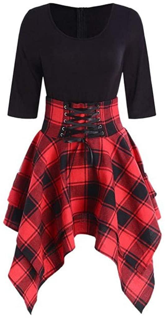 Limsea Women Dress Mini Dresses, Limsea Women O-Neck Lace Up Plaid Print Dress