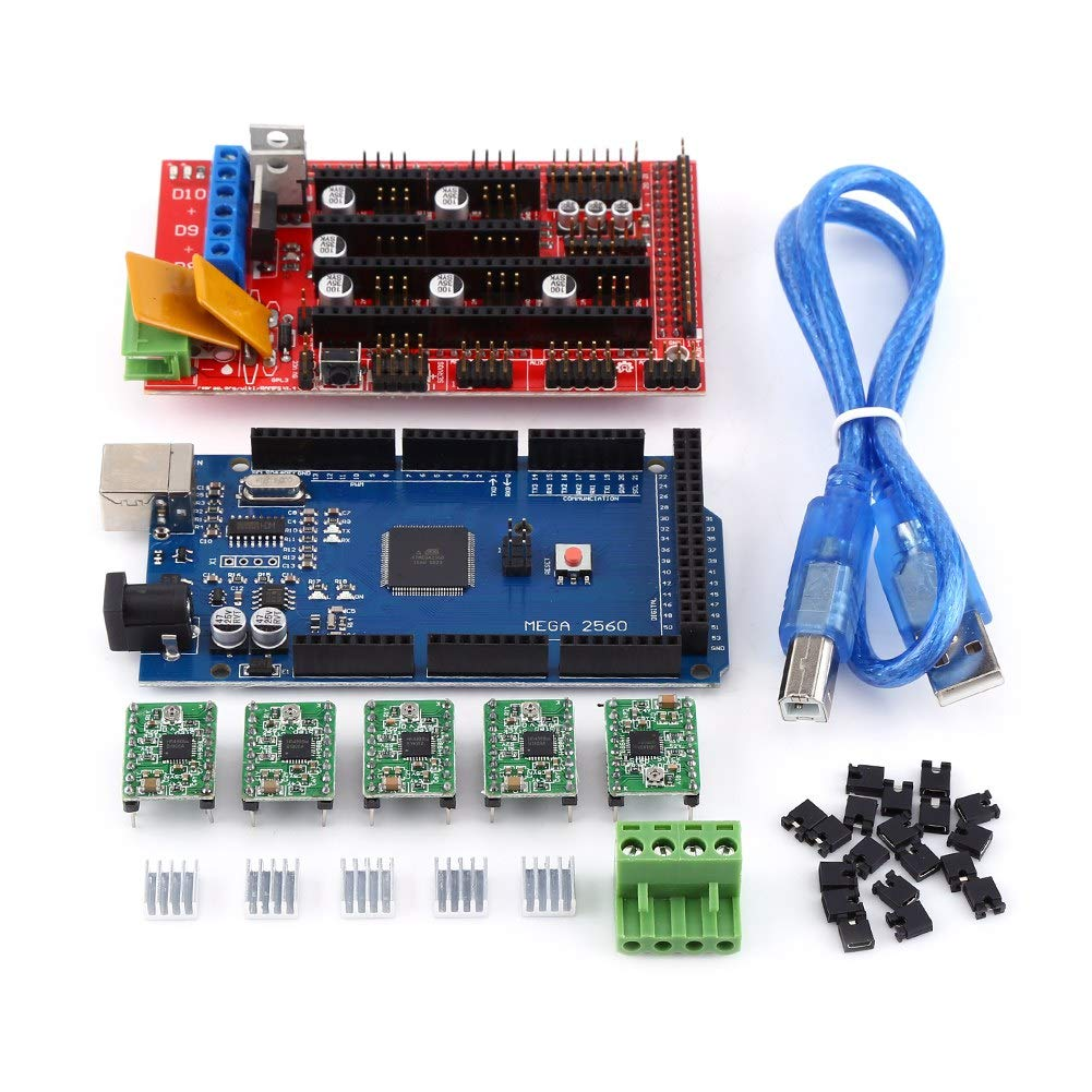 iFCOW 3D Printer RAMPS 1.4 Controller + MEGA2560 R3 + A4988 with Heat Sink USB Calbe Jumper Kit