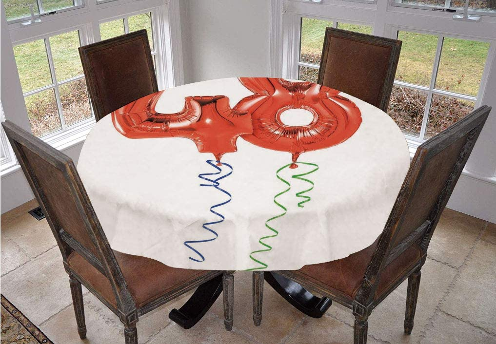Angel Bags 48th Birthday Round Tablecloth,Happy Greetings Red Helium Balloon Figures Concept Modern Print Polyester Table Cover,90 Inch,for Dining Room and Party Blue Green