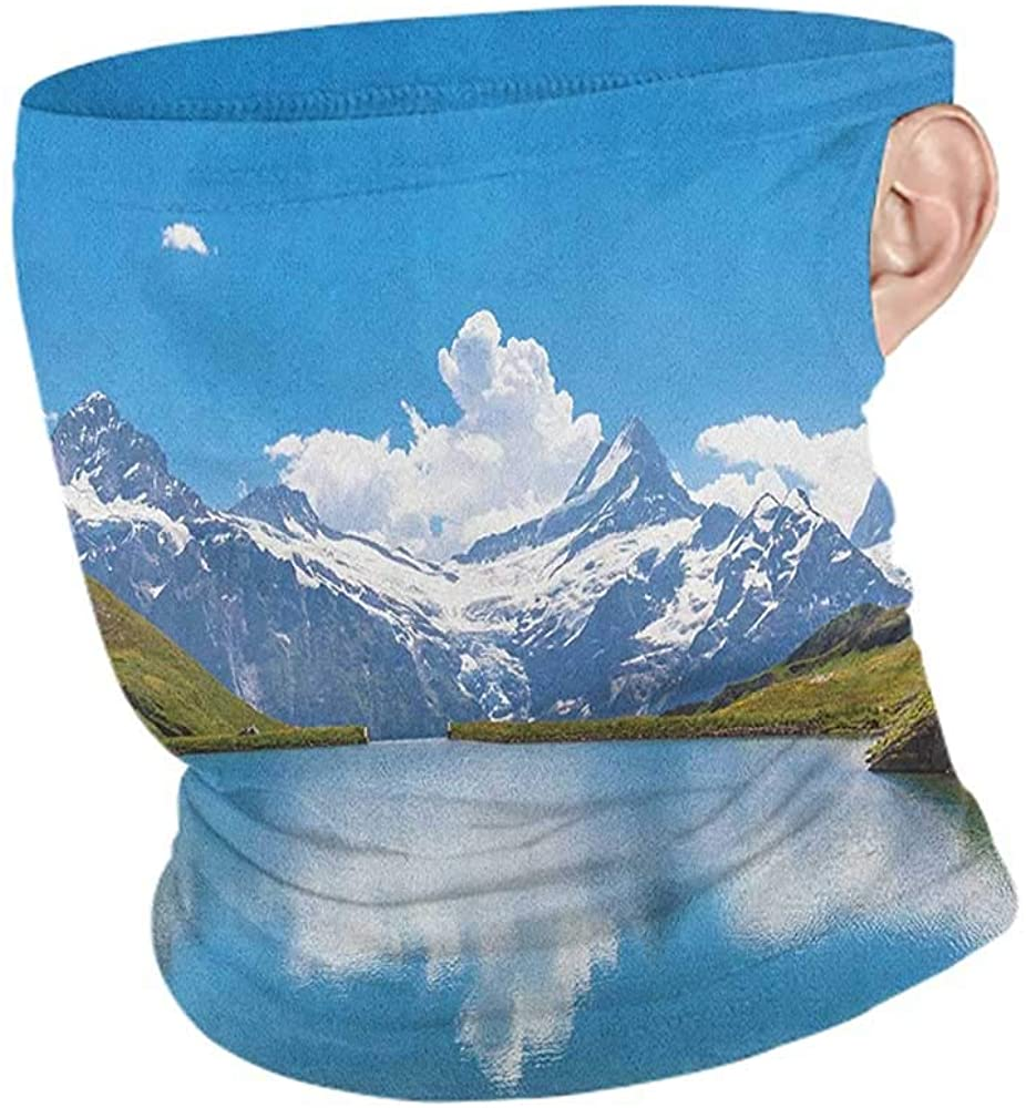 Neck Warmer Cooling Landscape Dreamy View of Alpine Lake with Snow Frozen Peaks Swiss Northern Explore,Ski Tube Scarf Blue Green White 10 x 12 Inch