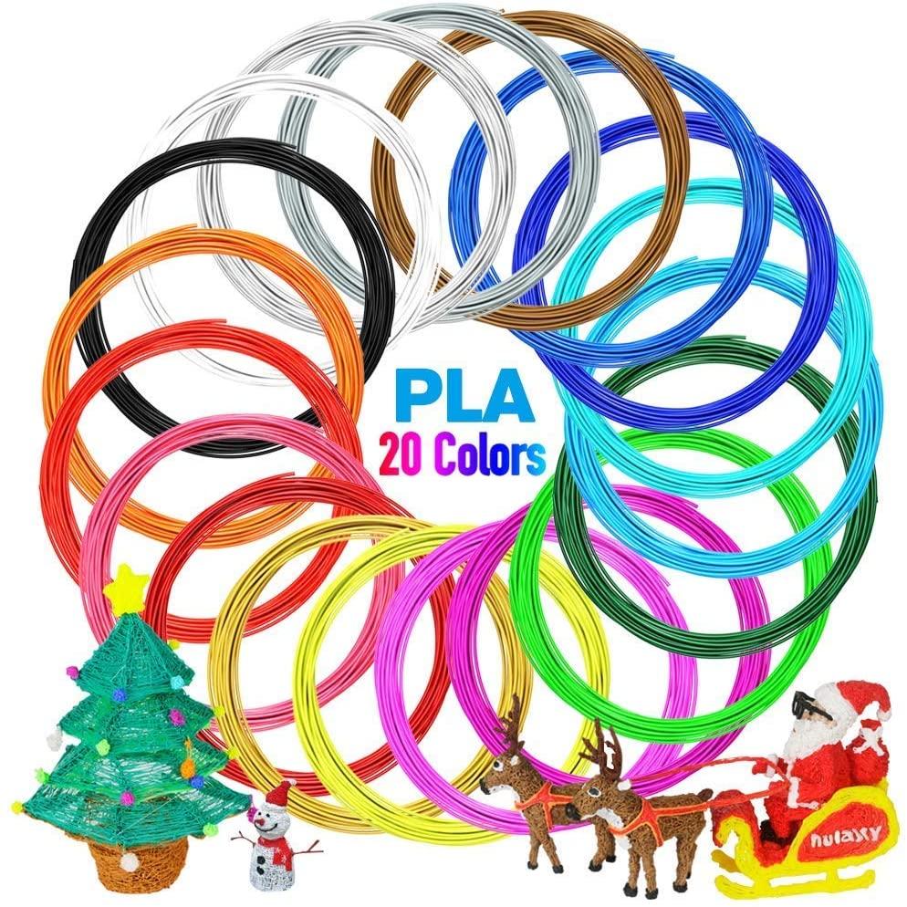 3D Printer/3D Pen Filament, 1.75mm PLA Filament Refills Pack of 20, Each Color 20 Feet, Total 400 Feet, Including 5 Fluorescent + 5 Luminous (20 Filaments)