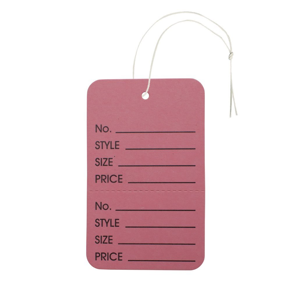 NAHANCO Large Pink Coupon Tag, Strung Vertical Perforated Merchandise Tag (Pack of 1000)