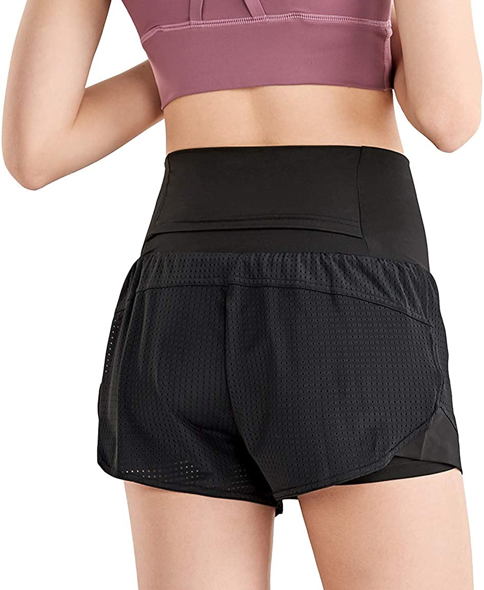 EDENCOMERS Women Workout Running Shorts,Active Yoga Gym Sport Shorts with Liner 2 in 1